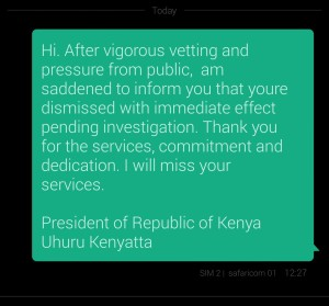 SMS uhuru sent to Ann Waigiru. She was sacked and did not resign