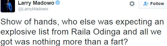 Larry madowo accuses Raila of farting