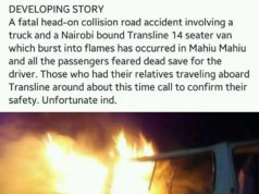 TRANSLINE SHUTTLE BUST INTO FLAMES AFTER HEAD ON COLLISION. ALL PASSENGERS FEARED DEAD